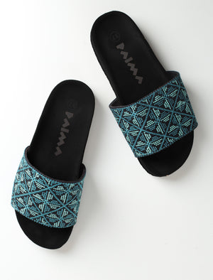 Black x Blue Flowers  Slippers