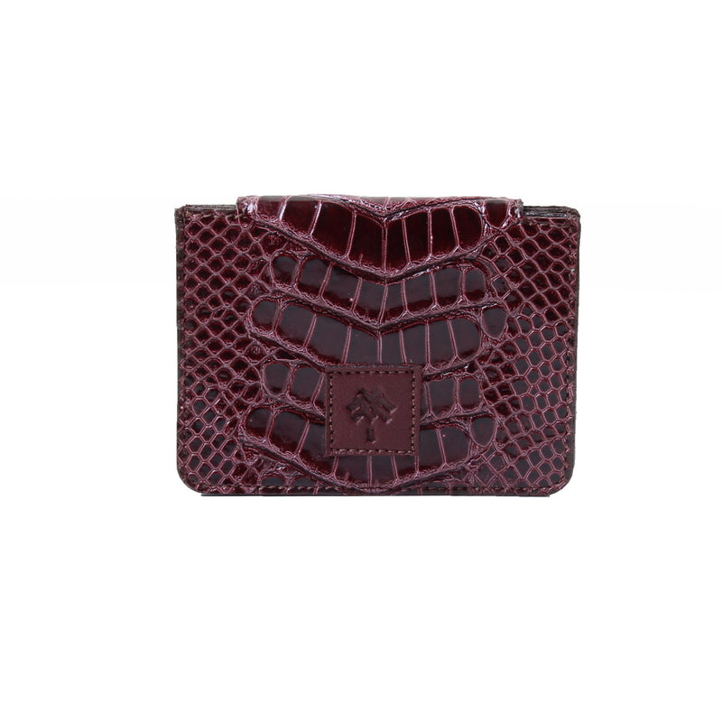 Card Holder Dotted Croc Burgundy