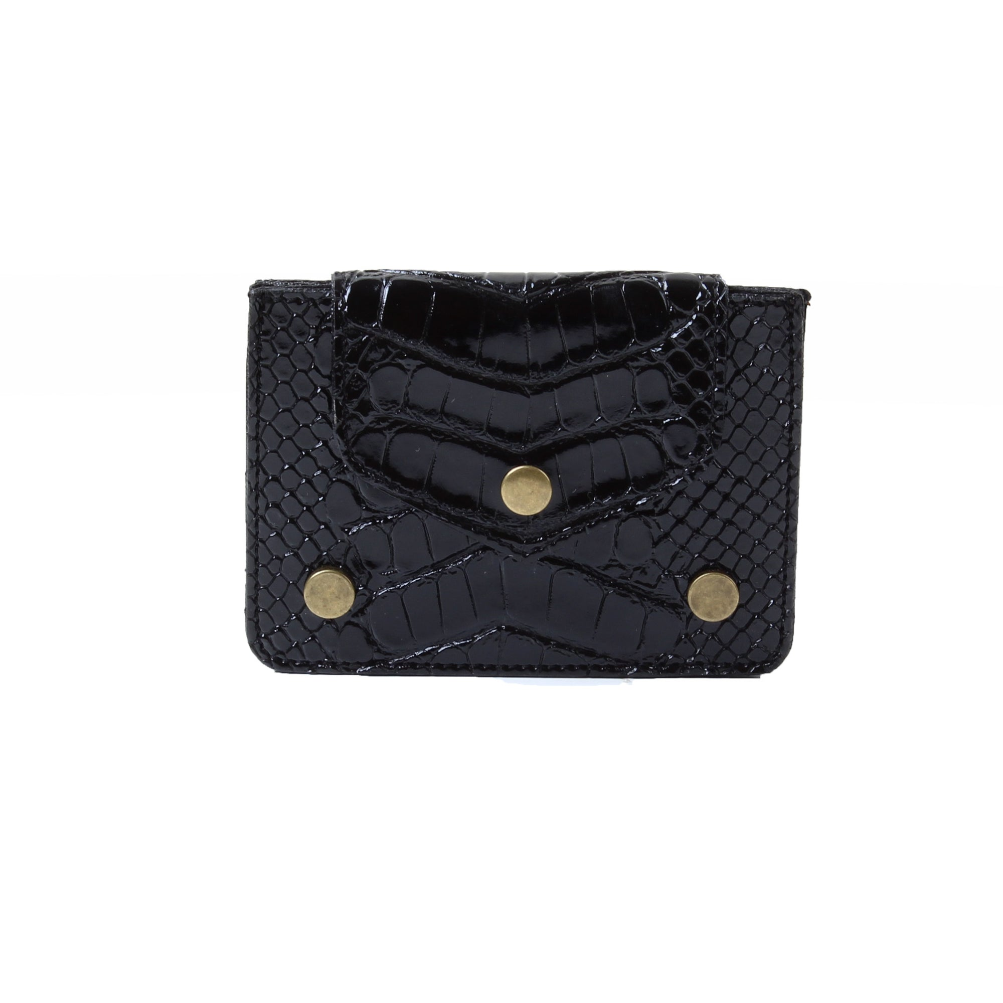 Card Holder Dotted Croc Black