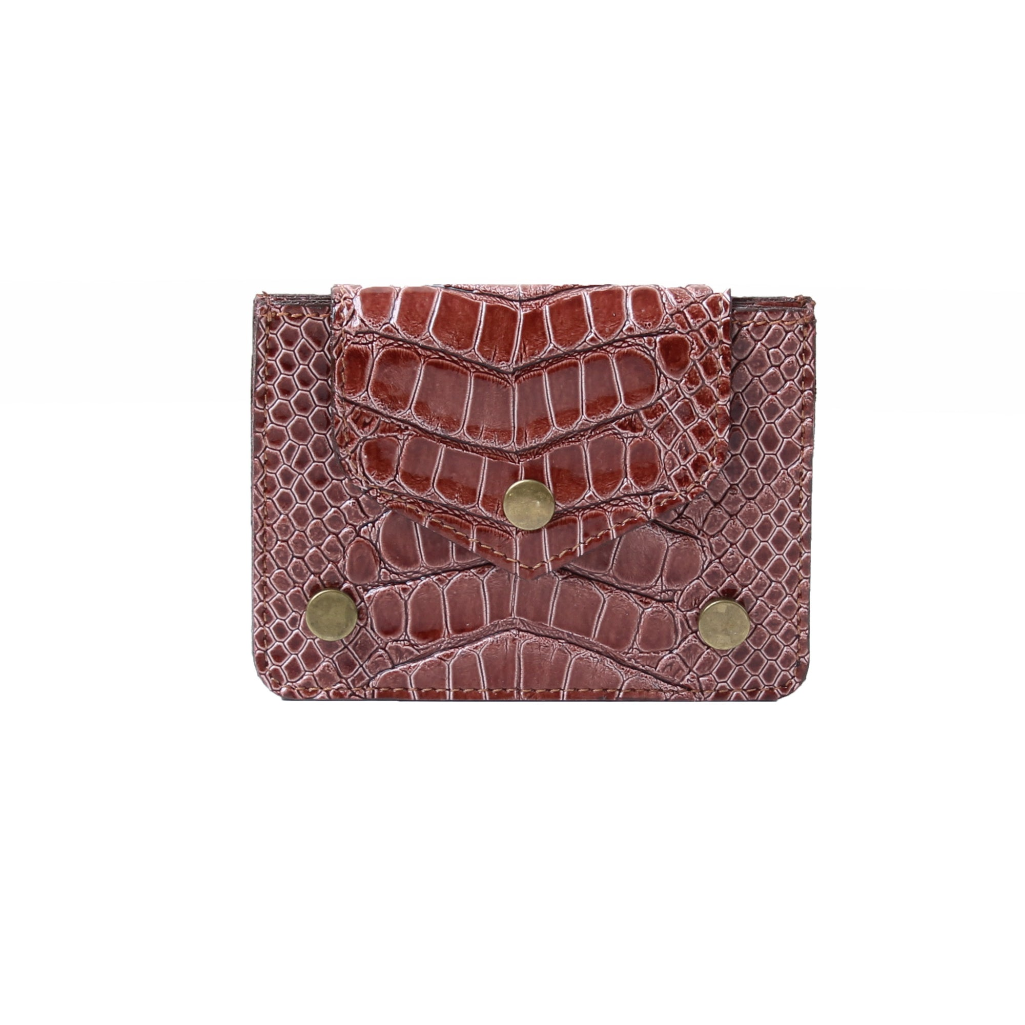 Card Holder Dotted Croc Cafe