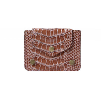 Card Holder Dotted Croc Havane