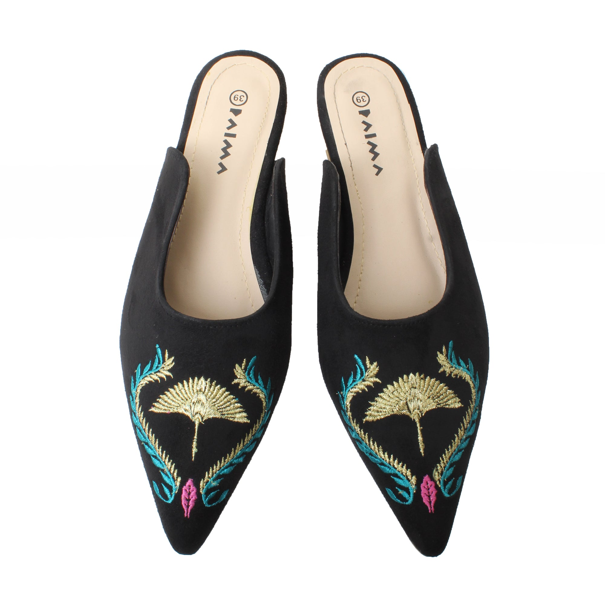 Pointy Mules Gold Peacock