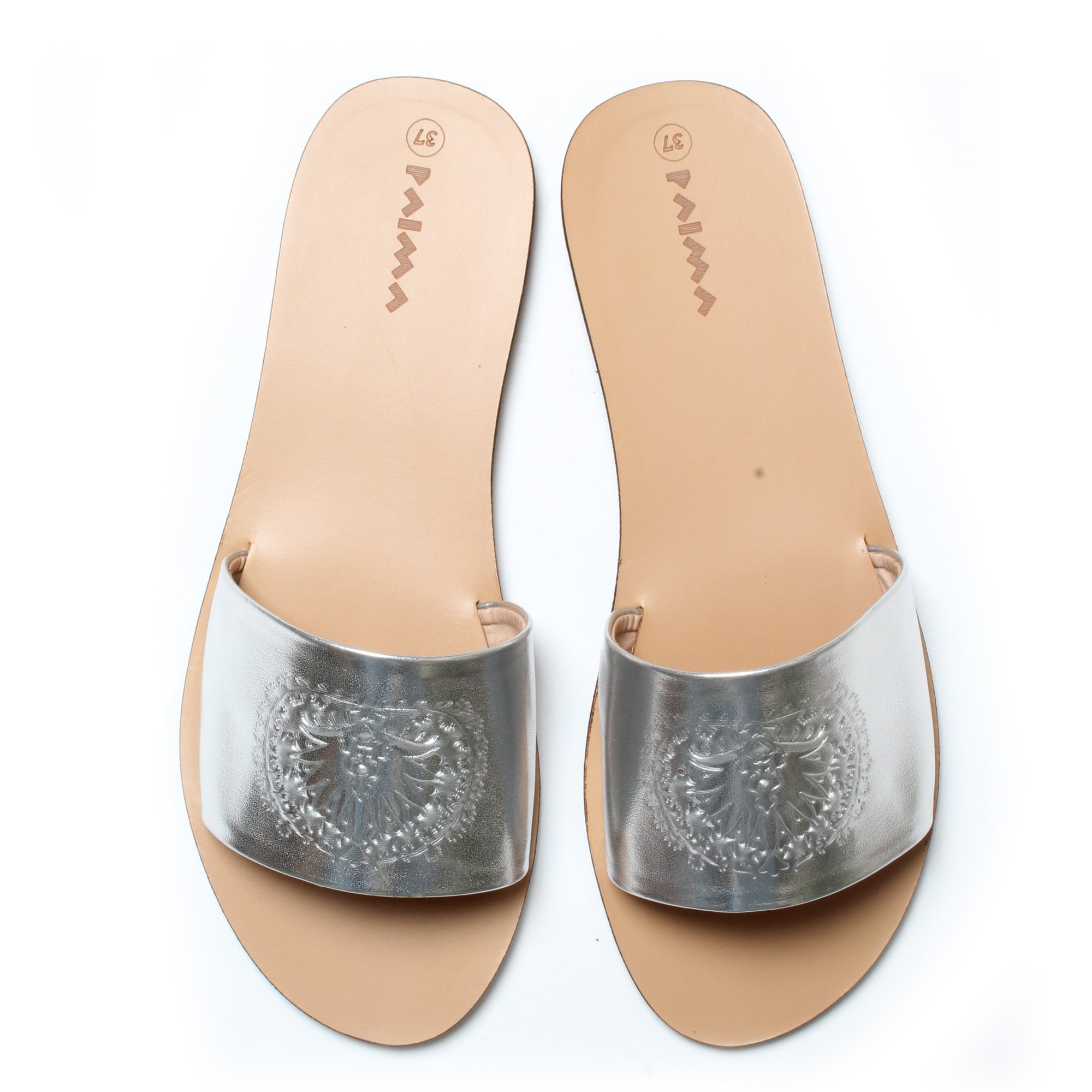 Slides Peacock Silver