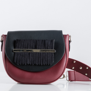 Burgundy x Black Fringes Belt Bag