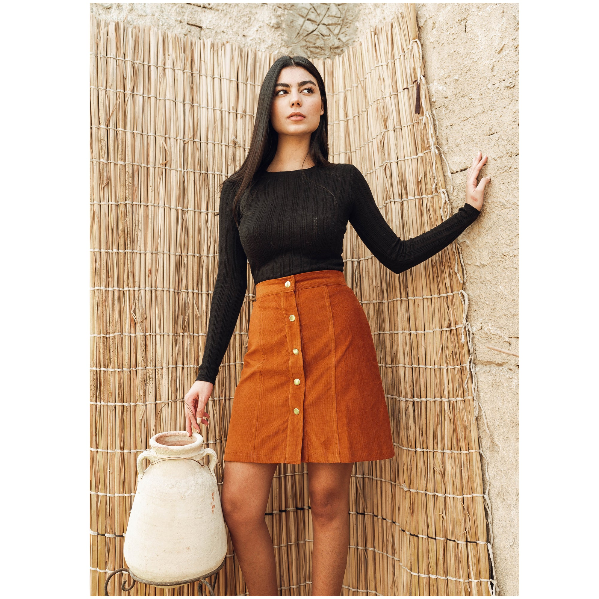 Corduroy Skirt Orange