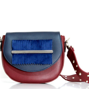 Burgundy x Navy Blue Fringes Belt Bag