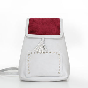 V Studs Backpack Beige x Burgundy