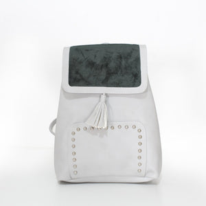 V Studs Backpack Beige x Olive Green