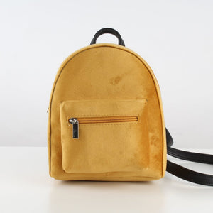 Mustard Velvet Mini Backpack