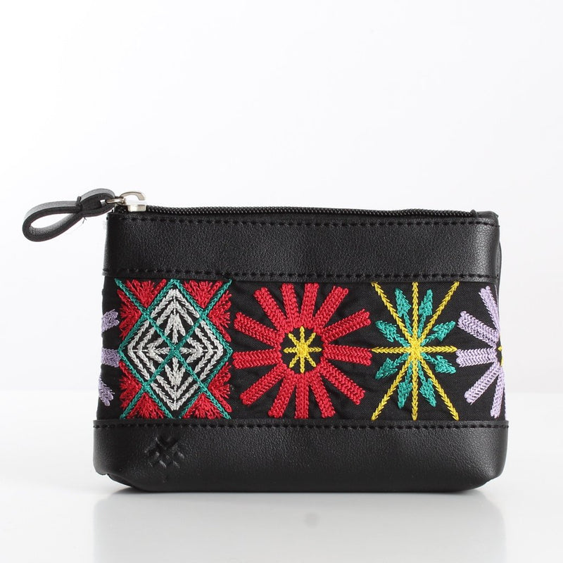 Black Boho Flowers Makeup Bag