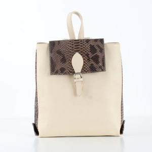 Beige Rectangle SnakeSkin Backpack