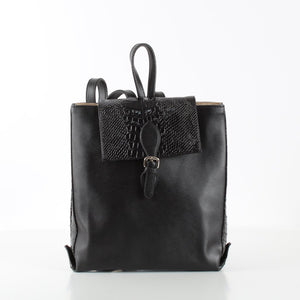 Black Rectangle SnakeSkin Backpack