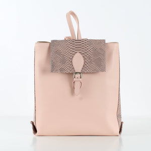 Pink Rectangle SnakeSkin Backpack