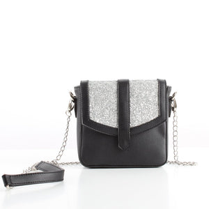 Silver-Black Glitter Mini CrossBag