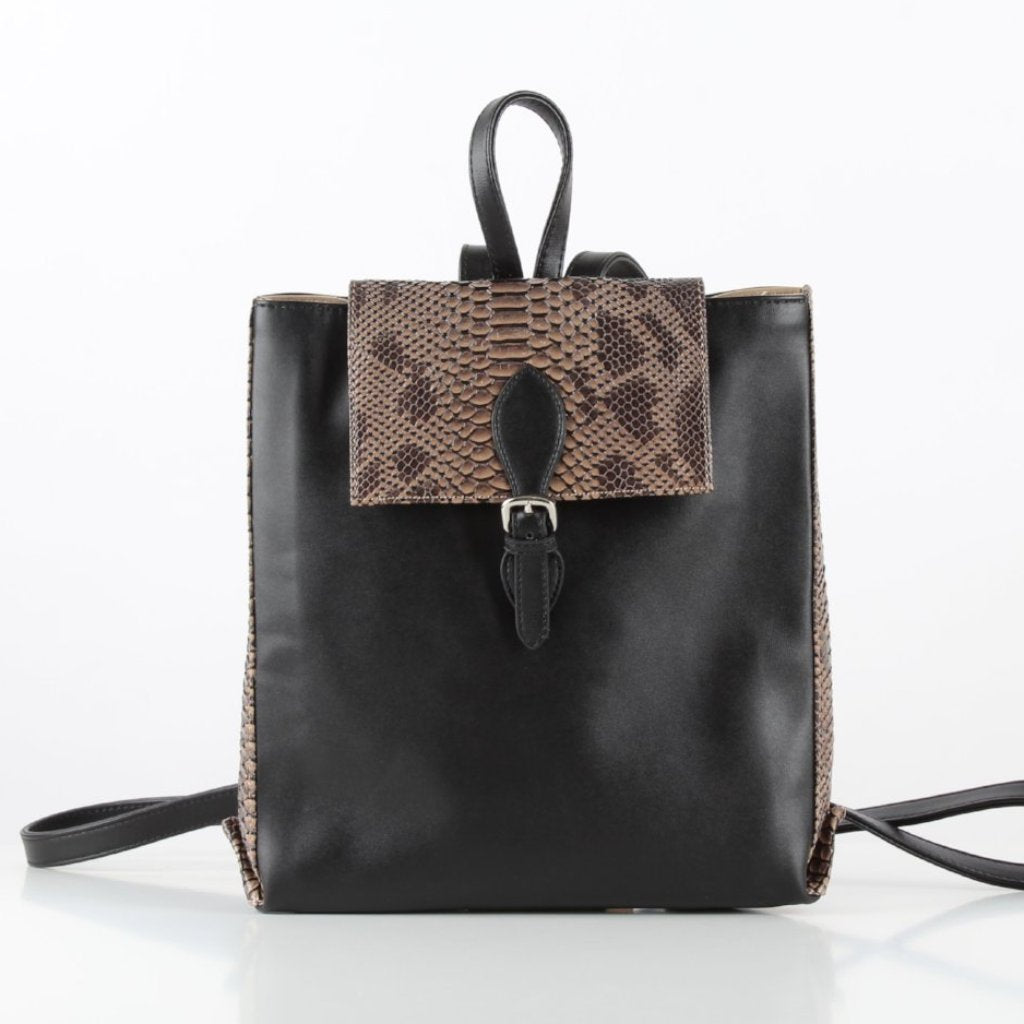 Black x Cafe Rectangle SnakeSkin Backpack