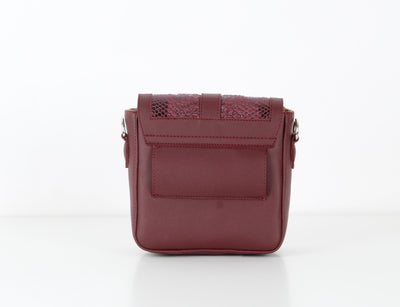 Burgundy SnakeSkin Mini CrossBag