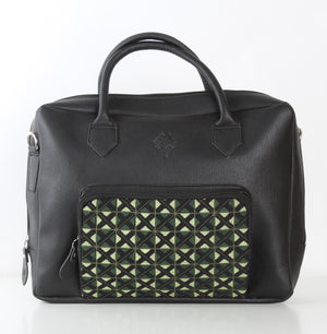 Black x Olive Green One Pocket Laptop Bag