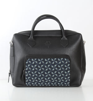 Black x Blue Flowered One Pocket Laptop Bag