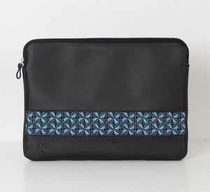 Black x Blue Flower Laptop Sleeve