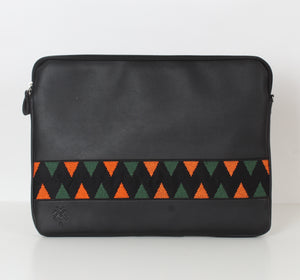 Black x Orange Dark Green Laptop Sleeve