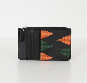 Black x Orange Dark Green Card Holder