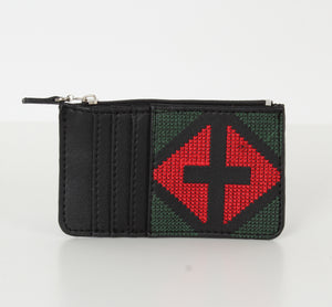 Black x Red Dark Green Card Holder