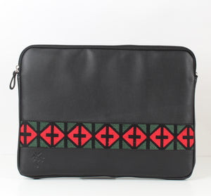 Black x Red Dark Green Laptop Sleeve