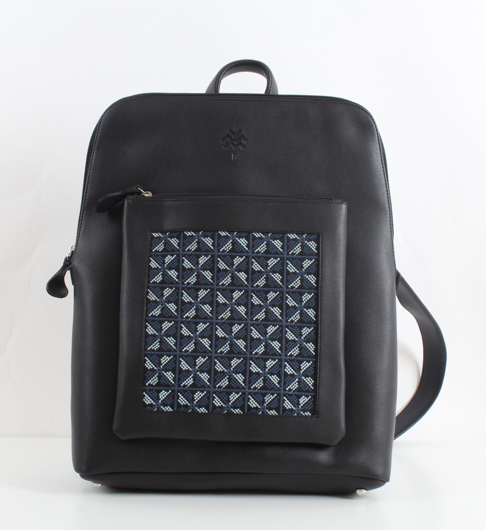 Black x Blue Flowered Curvy Laptop bag