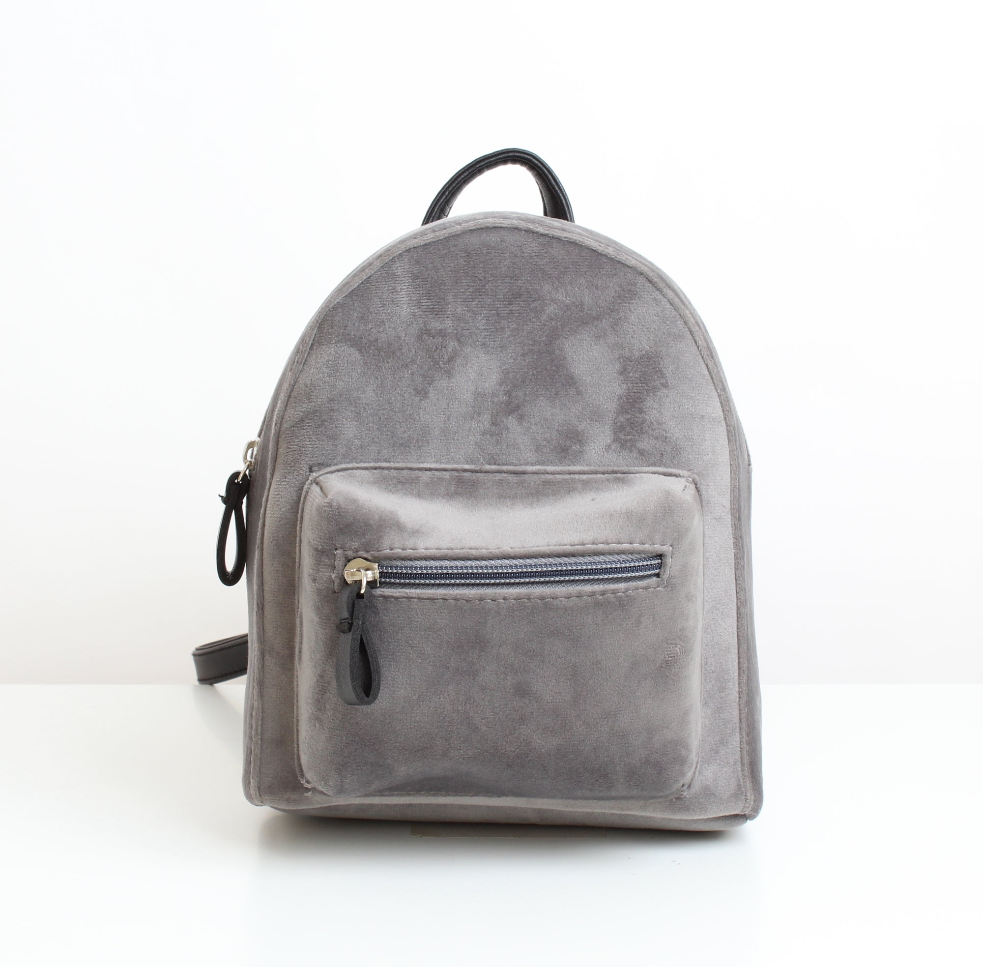 Grey Velvet Mini Backpack