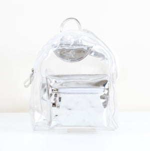 Silver Transparent Mini Backpack