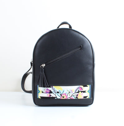 Black x Floral stripes Tassel Backpack