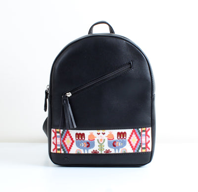 Black Nordic Bird Tassel Backpack