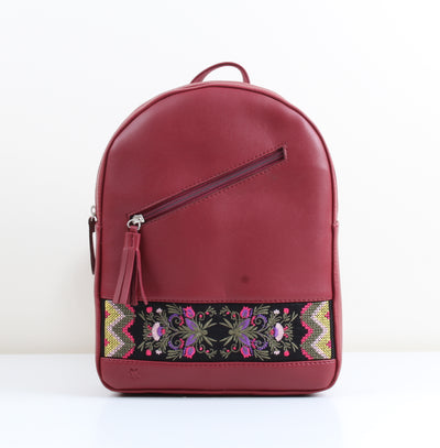 Burgundy Ethnic flower Blooms Tassel Backpack