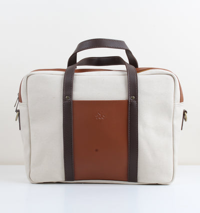 Beige x Brown Canvas Workbag