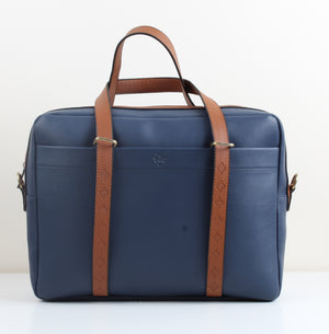 Navy Blue Leather Workbag