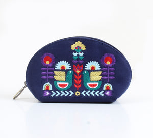 Nordic Bird x navy blue Makeup bag