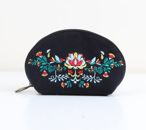 Colored flowred x Black Makeup bag