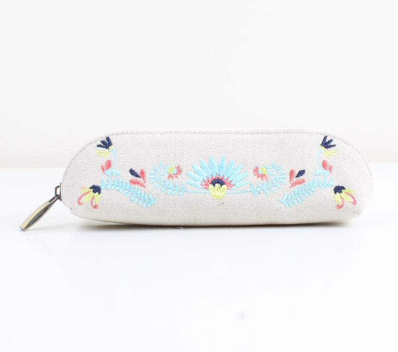Flowered x White Pencil Case