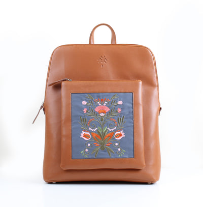 Curvy Laptop bag Flowered x Havane