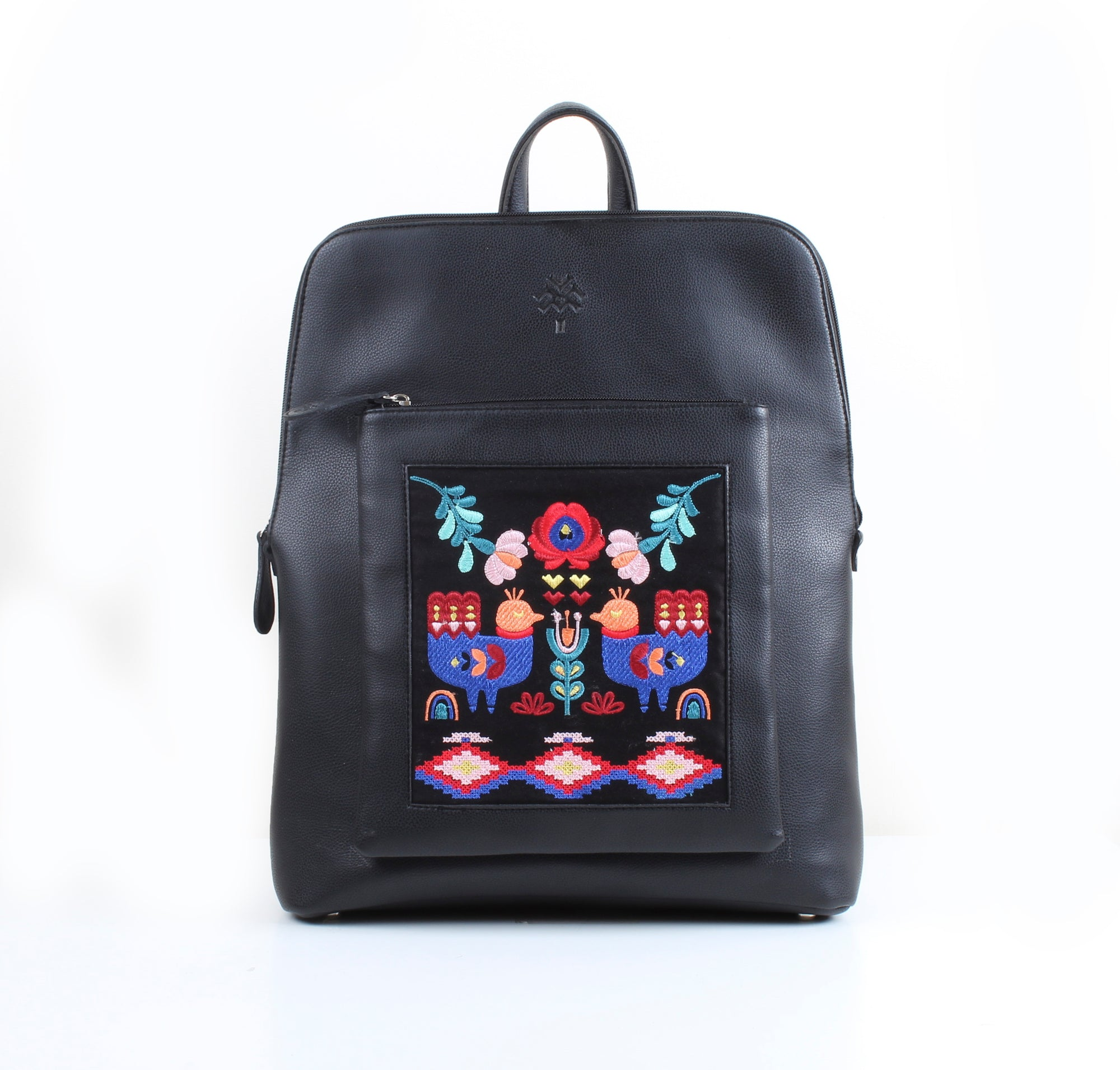 Flowered Nordic Bird x Black Curvy Laptop bag