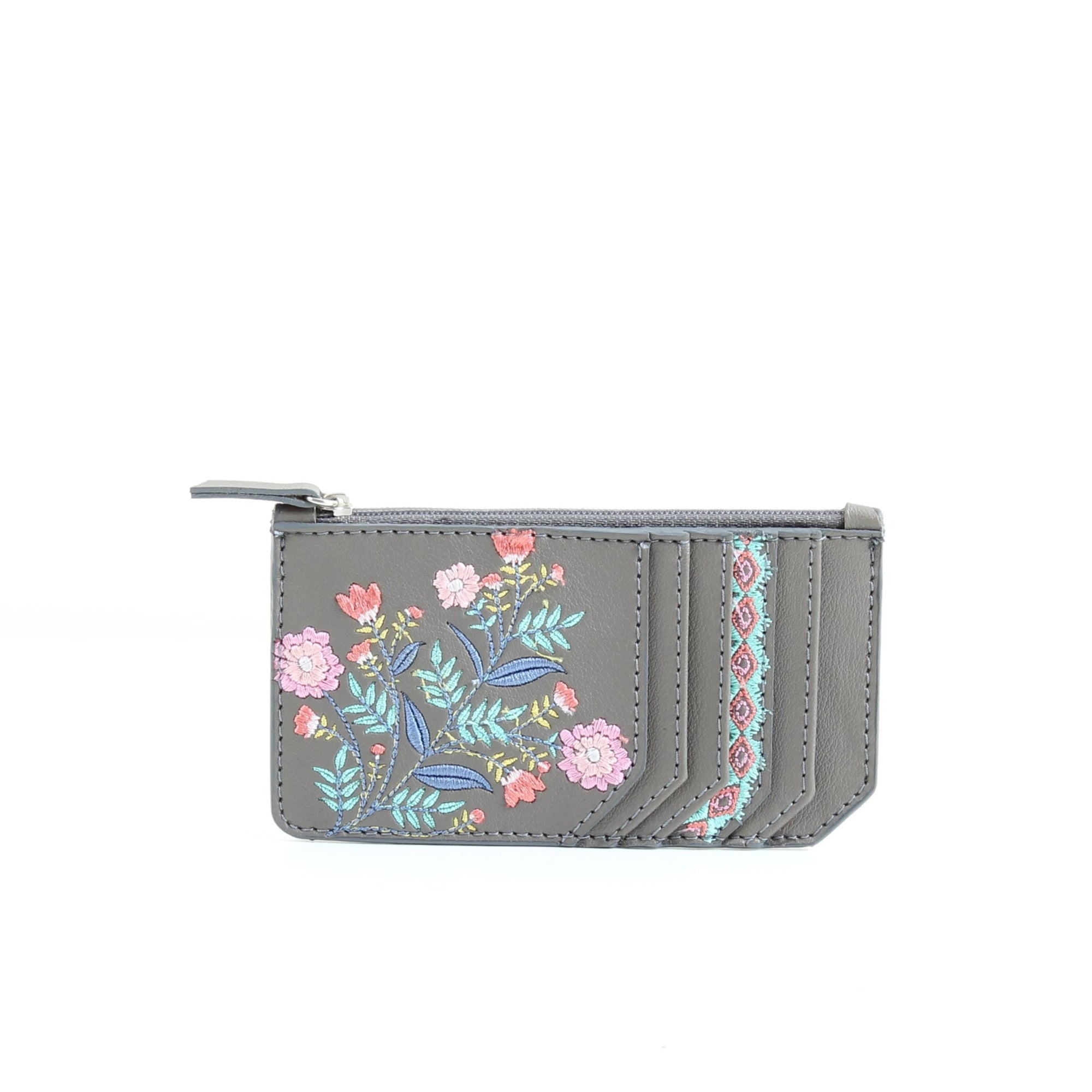 Grey Flowered Card Holder
