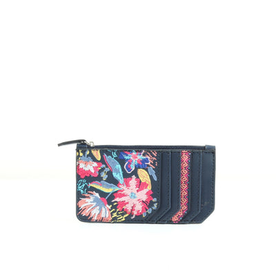 Navy Blue Flowered Card Holder
