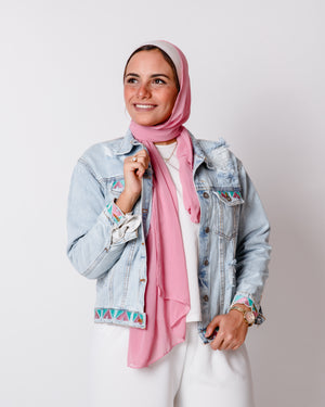 Pink Teal Nubi Denim Jacket