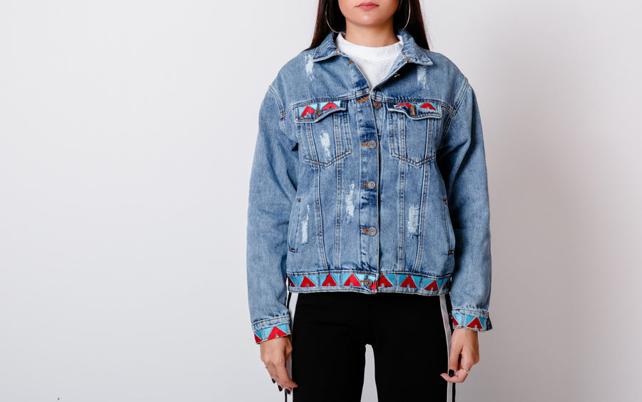 Red Blue Nubi Denim Jacket