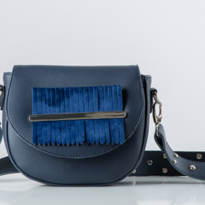 Navy Blue Fringes Belt Bag