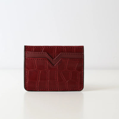 Card Holder Burgundy Croc