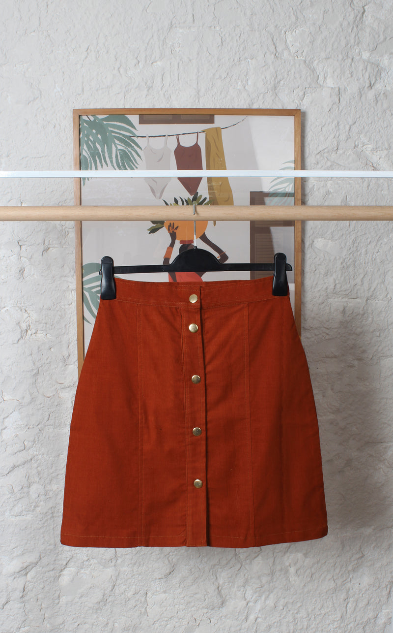 Corduroy Skirt Brick