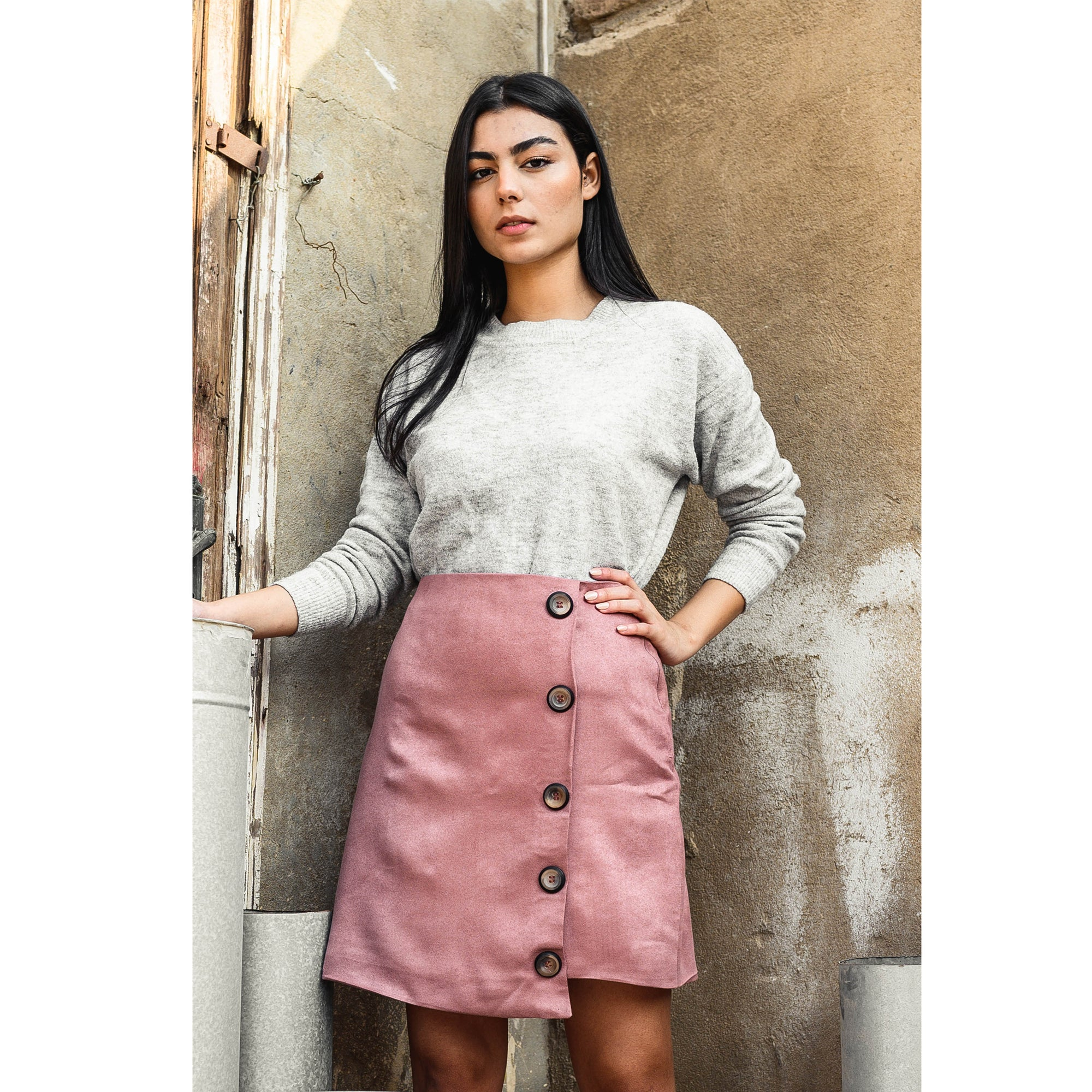 Suede Skirt Rose