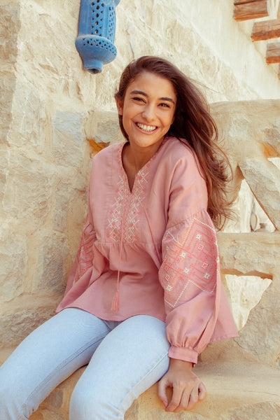 Embroidered Blouse Pink