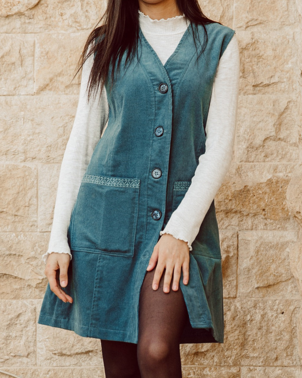 Corduroy Dress Teal